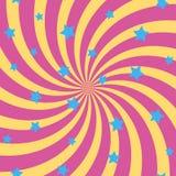 Abstrakt bakgrund med spirala solstrålar och stjärnor vektor Arkivfoton