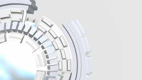 Abstrakt bakgrund med vita roterande cirklar för fiktion vektor illustrationer
