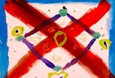 abstrakt bakgrund Röd och purpurfärgad geometrisk form Arkivbilder