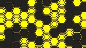 Abstrakt bakgrund som 3d göras av gula sexhörningar på glödande bakgrund för apelsin Arkivfoton