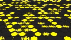 Abstrakt bakgrund som 3d göras av gula sexhörningar på glödande bakgrund för apelsin Royaltyfria Foton