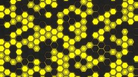 Abstrakt bakgrund som 3d göras av gula sexhörningar på glödande bakgrund för apelsin Arkivbilder
