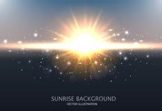 abstrakt bakgrund som skiner Planlägg med soluppgång, himmel, solen och den suddiga effekten också vektor för coreldrawillustrati Arkivbild