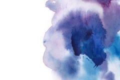abstrakt bakgrund Vattenfärgfärgstänk har dragit manuellt blått, p Royaltyfri Bild