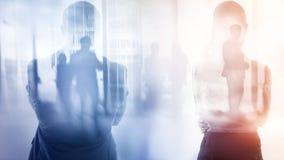 abstrakt bakgrundsaffär Affärsfolk, dubbel exponering arkivfoto