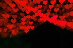 Abstrakt bakgrundsbokeh av hjärtor för valentin dag Royaltyfria Bilder