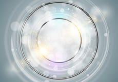 abstrakt bakgrundscirkel Ram för runda för metallkromsken med ljuscirklar och ljus effekt för gnista Glöda för vektorbrusande stock illustrationer