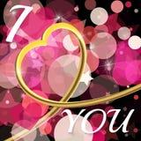 abstrakt bakgrundsdag s till valentinen Guld- hjärta 3d och Royaltyfri Fotografi