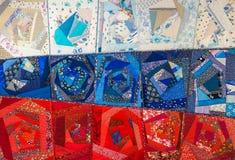 abstrakt bakgrundsfärg Handgjord prydnad för patchwork Fotografering för Bildbyråer