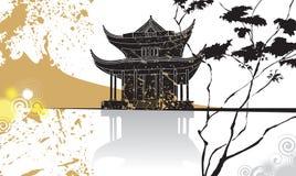 abstrakt bakgrundskinespagoda stock illustrationer