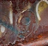 Abstrakt bakgrundsrost och att skala målarfärg & grafetti & nummer 9 Royaltyfri Fotografi