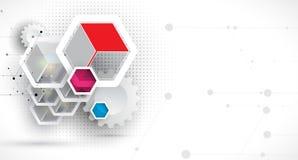 abstrakt bakgrundssexhörning Polygonal design för teknologi Digita royaltyfri illustrationer