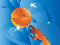 abstrakt bakgrundssportar Vektorillustration med bollen för design Handen trycker på bollbasketen En pseudopolygon Arkivbilder