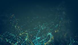 abstrakt bakgrundsteknologi Raster för vektor för Digital tech 3d med partikeloväsenvågen Royaltyfri Illustrationer