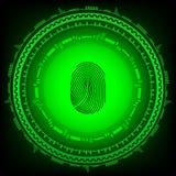 abstrakt bakgrundsteknologi Säkerhetssystembegrepp med fingeravtrycket Illustration för EPS 10 Arkivbilder