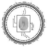 abstrakt bakgrundsteknologi Säkerhetssystembegrepp med fingeravtrycket Vektorillustration för EPS 10 Royaltyfri Fotografi