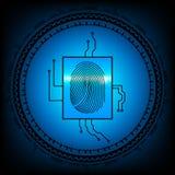 abstrakt bakgrundsteknologi Säkerhetssystembegrepp med fingeravtrycket Vektorillustration för EPS 10 Arkivbilder
