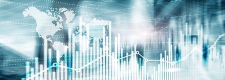 abstrakt bakgrundsuniversal Websitetitelradtapet silhouettes för affärsfolk Ekonomisk tillväxtgrafdiagram arkivfoton