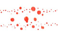 Abstrakt bakgrundsvattenfärgillustration med bilden av en uppsättning av röda runda former av olika format, som är den ordnade ho stock illustrationer