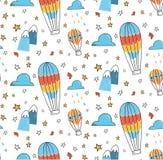 Abstrakt ballong för varm luft i den sömlösa modellen för himmel stock illustrationer
