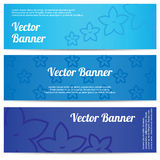 Abstrakt baner för vektor med blåa blommor Royaltyfri Foto
