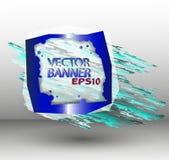 Abstrakt baner för vektorfyrkantblått med en blå fläck Royaltyfri Foto