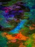 Abstrakt barwiący rocznika grunge tło z rozmytymi chaotycznymi farb uderzeniami na textured brezentowym komputerze wytwarzał graf Fotografia Royalty Free