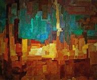 Abstrakt barwiący rocznika grunge tło z rozmytymi chaotycznymi farb uderzeniami na textured brezentowym komputerze wytwarzał graf Obraz Stock