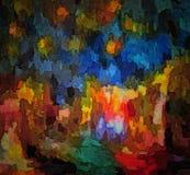 Abstrakt barwiący rocznika grunge tło z rozmytymi chaotycznymi farb uderzeniami na textured brezentowym komputerze wytwarzał graf Fotografia Stock