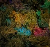 Abstrakt barwiący rocznika grunge tło z rozmytymi chaotycznymi farb uderzeniami na textured brezentowym komputerze wytwarzał graf Obrazy Stock