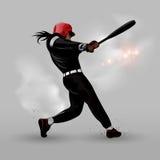 Abstrakt baseball som slår bollen Arkivfoton
