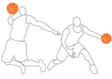 Abstrakt basketspelare med bollen fr?n f?rgst?nk av vattenf?rger vektor royaltyfri illustrationer
