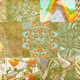 Abstrakt batikcollagebakgrund Arkivfoton