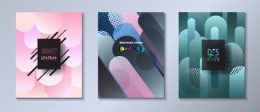 Abstrakt bauhaus för uppsättning för räkningsmall, memphis och bubblor för färg för hipsterstil grafiska fluid Arkivfoton
