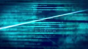 Abstrakt begrepp animerad teknologibakgrund med skriften som programmerar kod och att rotera för jord vektor illustrationer
