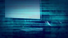 Abstrakt begrepp animerade skriften som programmerar kod på den skrivbords- datoren lager videofilmer