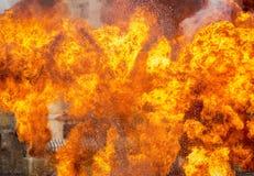 Abstrakt begrepp av brandflamman som exploderar Royaltyfri Fotografi