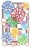 Abstrakt begrepp av cirklarna och linjerna Arkivfoton