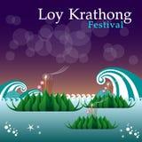 Abstrakt begrepp av den Loy-Krathong festivalen Arkivbilder