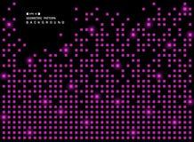 Abstrakt begrepp av den skinande purpurfärgade fyrkantiga geometriska modellen på svart bakgrund royaltyfri illustrationer