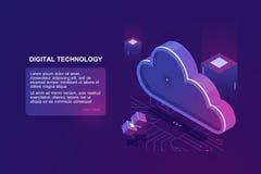 Abstrakt begrepp av digital molnberäkning, lagret för molndatalagring, serverrum-, databas- och data, website stock illustrationer