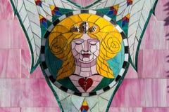 Abstrakt begrepp av färgrik sprucken mosaiktextur som bakgrund Royaltyfri Bild