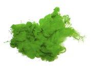 Abstrakt begrepp av grön akrylmålarfärg i vatten royaltyfria bilder