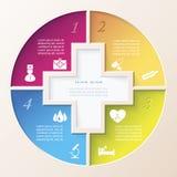 Abstrakt begrepp av medicin med läkarundersökning- och sjukvårdsymboler vektor illustrationer
