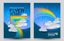 Abstrakt begrepp av regnbågar, moln, hav och himlar vektor illustrationer
