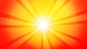 Abstrakt begrepp av solen, gul radie på röd bakgrund med vit på mitten stock illustrationer