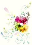 abstrakt begrepp blommar white Stock Illustrationer