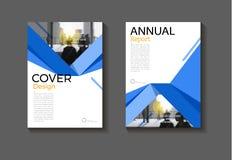 Abstrakt begrepp Brochu för bokomslag för bakgrund för blå räkningsdesign modernt Royaltyfria Foton