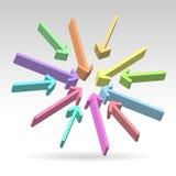 Abstrakt begrepp centrerade färgrika pilar vektor illustrationer