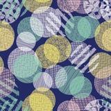 Abstrakt begrepp cirklar den sömlösa vektormodellen Olika ogenomskinlighetsblått för i lager prickar, rosa färger, kricka, gul up vektor illustrationer